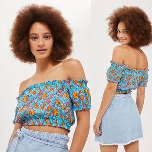 TopShop Floral Print Gypsy Shirred Crop Top